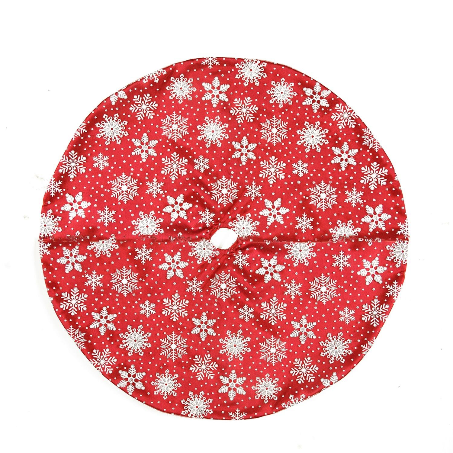 20'' Red and White Snowflake Design on Sheer Organza with Silver Glitter Mini Christmas Tree Skirt by Northlight