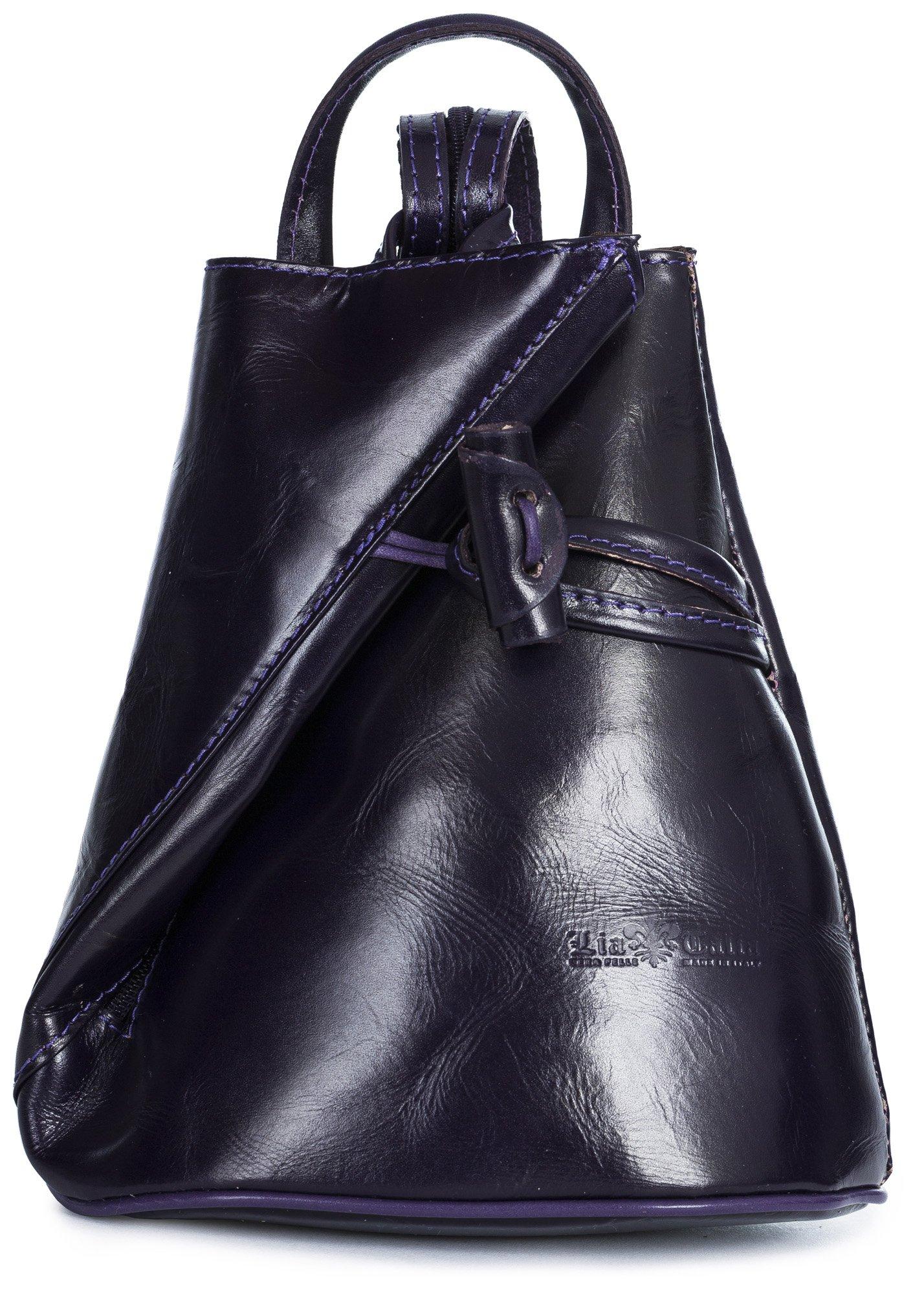 LiaTalia Convertible Strap Italian Leather Backpack Shoulder Bag with Protective Storage Bag - Brady (Large - Purple Plain)