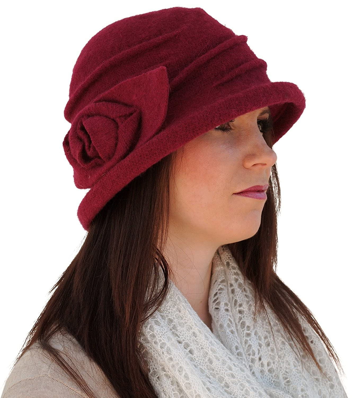i-Smalls Women's Salford Wire Brim Wool Cloche Hat with Flower Detail