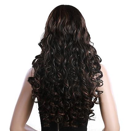 SONGMICS Longitud de 68 cm Peluca con cabello largo y rizado Peluca para mujeres con vereda