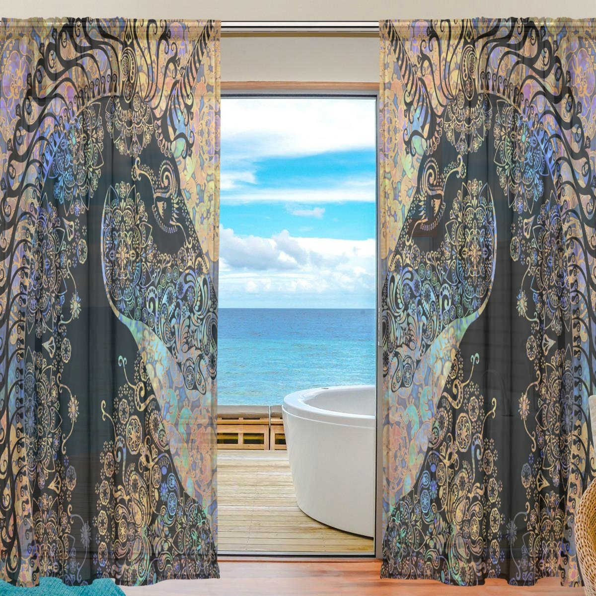 SEULIFE Window Sheer Curtain, Tribal Ethnic Floral Animal Unicorn Voile Curtain Drapes for Door Kitchen Living Room Bedroom 55x84 inches 2 Panels