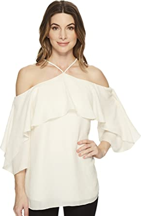 e76f4c66fd59a9 Halston Heritage Women s Flutter Sleeve Cold Shoulder High Neck Top Cream 0
