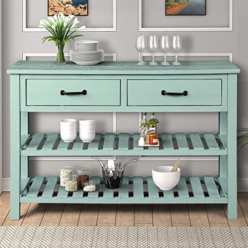 Retro Console Table for Entryway with Drawers and Shelf Living Room Furniture, Antique Blue