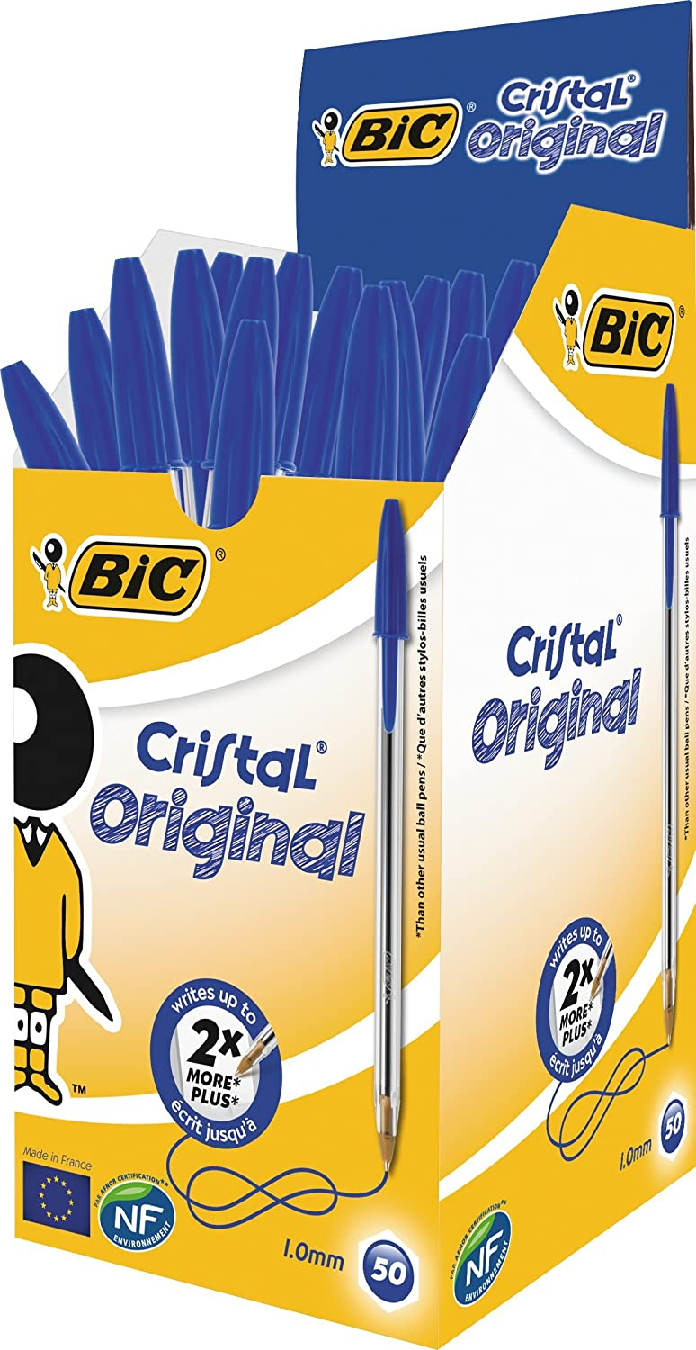 Pack of 50X BIC CRISTAL Medium Ball Pens Crystal Biros In Blue