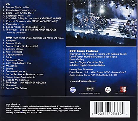 Amazon Com Andrea Bocelli Under The Desert Sky Dvd Included Music