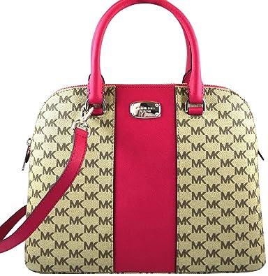 993e766c3ddf ... order michael kors cindy center stripe ultra pink brown large dome  satchel handbag 0045a 8d95c