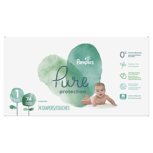 Pampers Pure Protection Newborn Disposable Diapers, Size 1 (8-14 lb), 74 Count