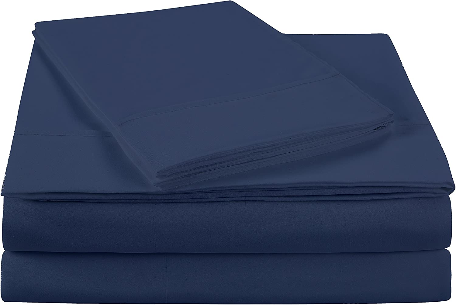 NC Home Fashions Ultra Soft Brushed Microfiber Solid Bed Sheet Set- Cotton Feeling-Deep Pockets - Easy Fit - Breathable & Cooling - Wrinkle, Fade, Stain Resistant-Queen, Blue Indigo -4 Pieces