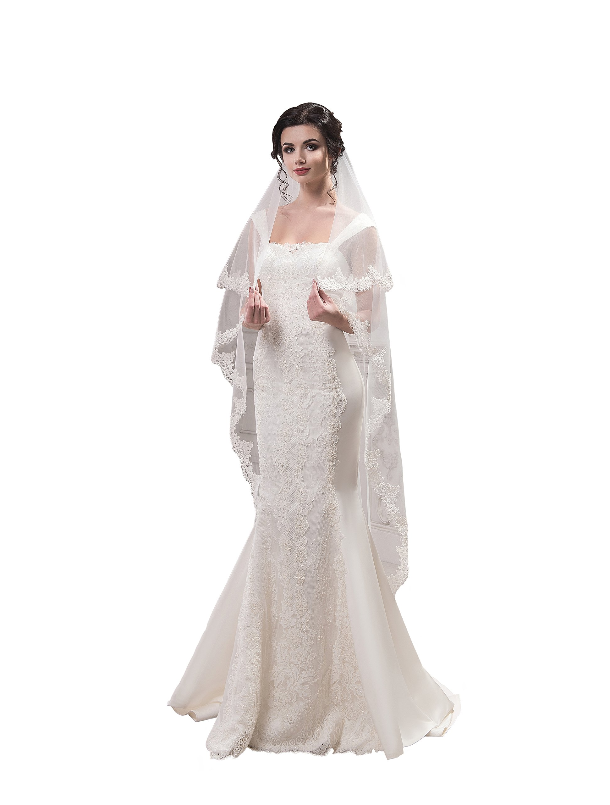 """Bridal Veil Carol from NYC Bride collection (short 30"""", ivory)"""