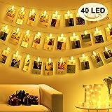 40 Clips Luci Foto Porta Foto Mollette LED Foto con Luci, Filo Luci per Foto Polaroid, Lucine Led Decorative per Camere, Luci Led Foto Mollette Portafoto Luci, Luci Tumblr Camera