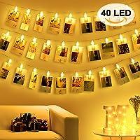 Amteker Guirlande Lumineuse Photo Chambre - 40 Photo Clips 5M Guirlande LED pour Accroche Photo Mural, Décoration de Noël, Murale, Anniversaire, Saint Valentin (Blanc Chaud)