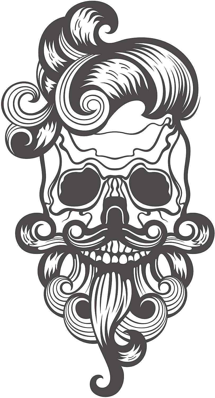 Amazon com curly hair beard mustache hipster skull cartoon vinyl sticker all sizes gray skull automotive