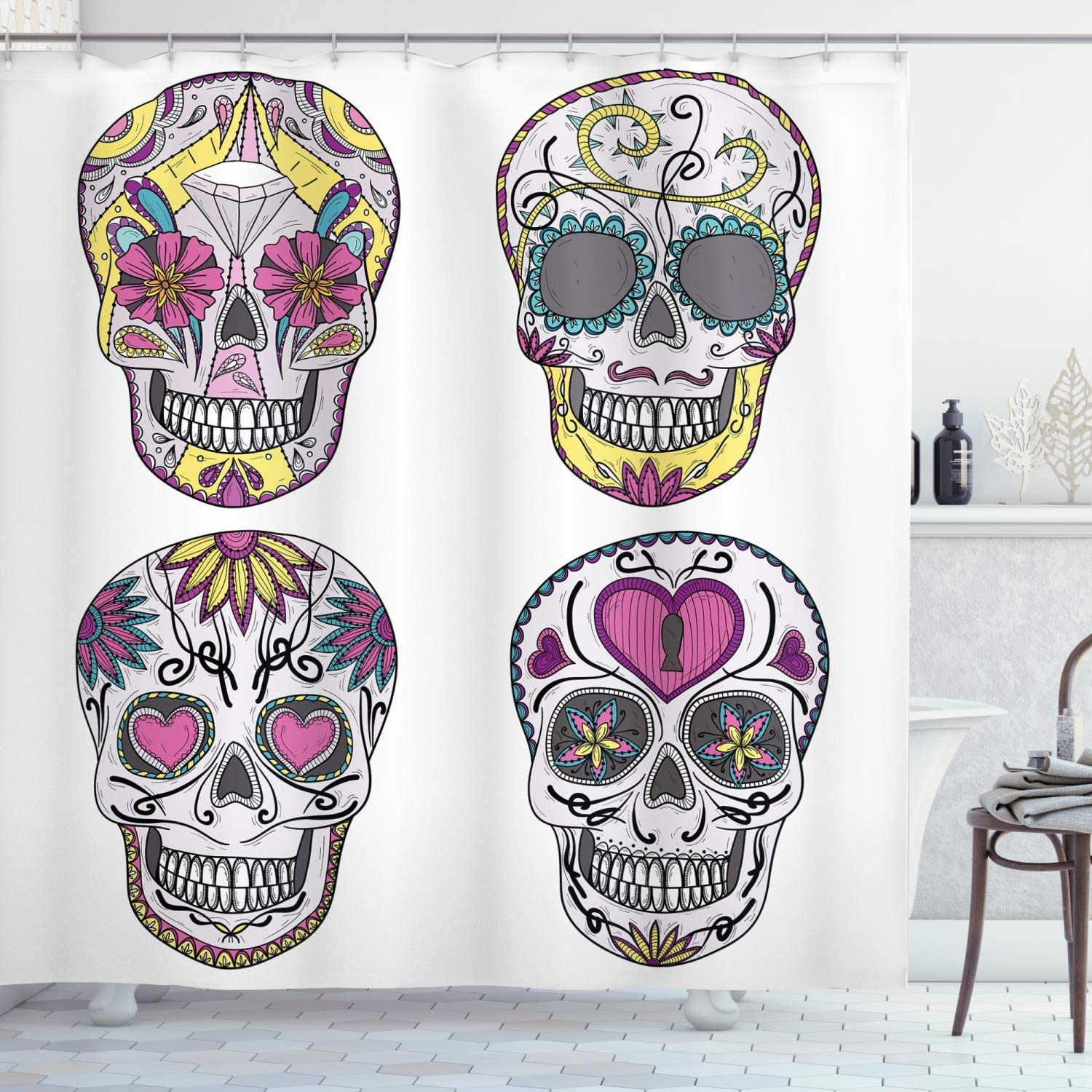 "Ambesonne Skull Shower Curtain, Colorful Ornate Mexican Sugar Skull Set with Flower and Heart Pattern Calavera Humor, Cloth Fabric Bathroom Decor Set with Hooks, 84"" Long Extra, Pink Grey"