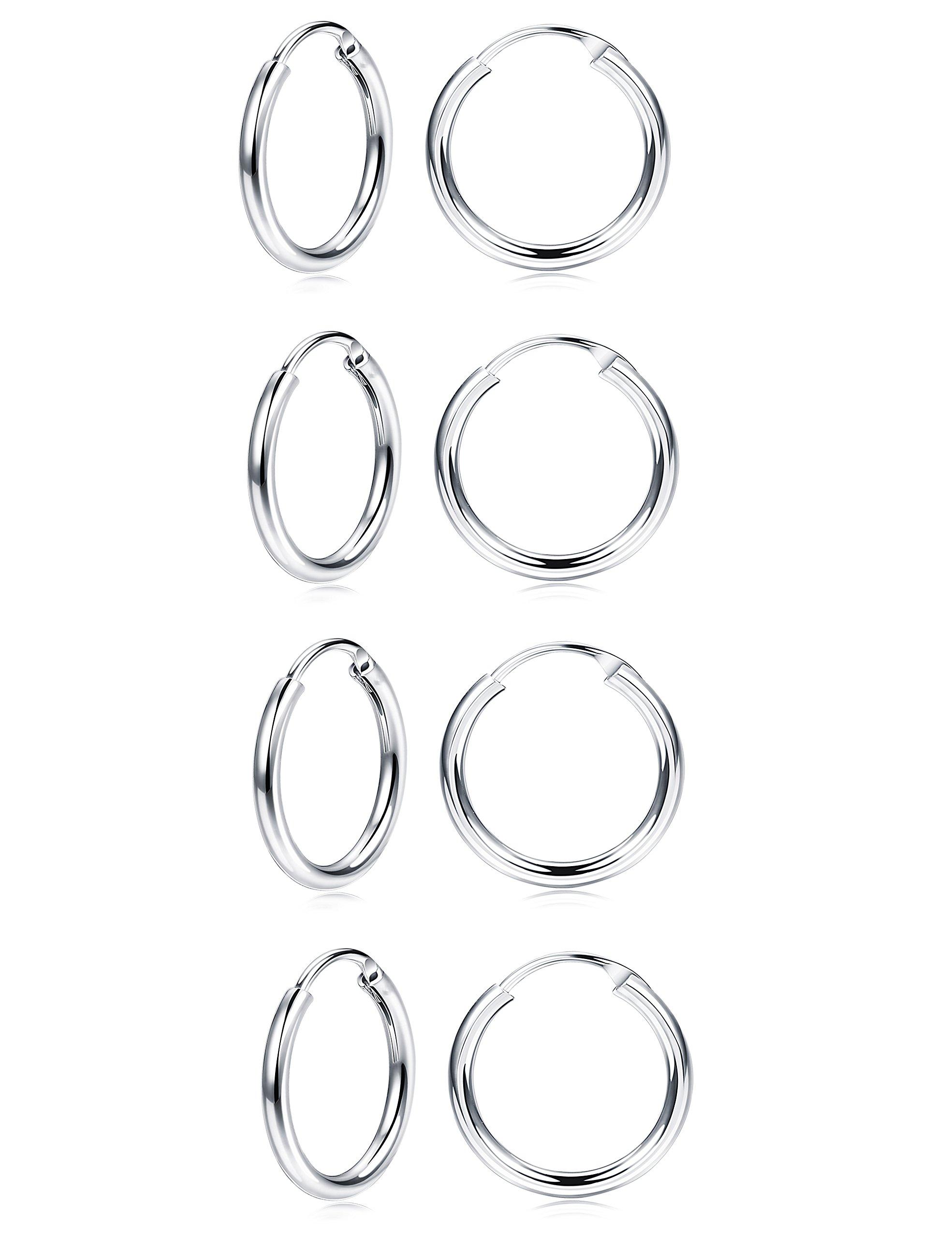 FUNRUN JEWELRY 4 Pairs 10MM Sterling Silver Small Hoop Earrings for Women Men Endless Round Unisex Earrings Set