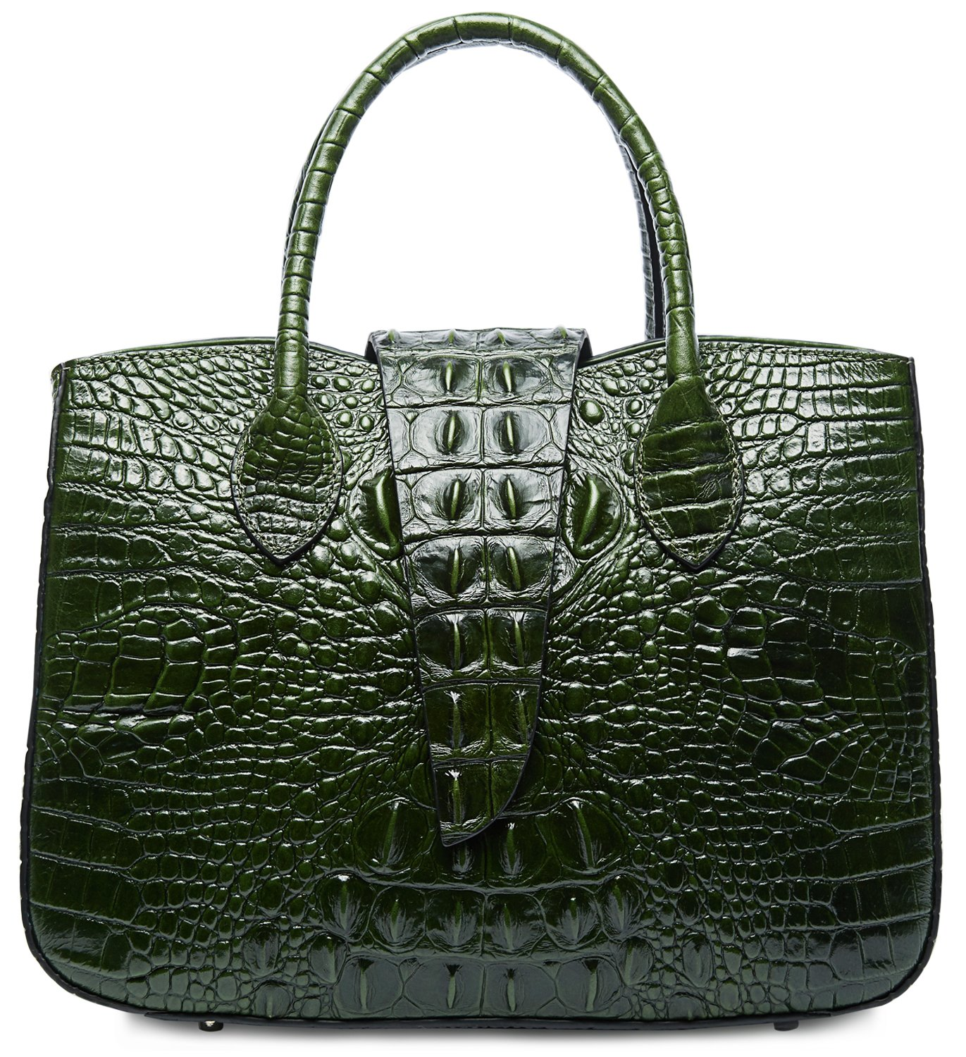 PIFUREN Designer Crocodile Handbags Women Top Handle Satchel Shoulder Bags M1110 (One Size, Green) by PIFUREN