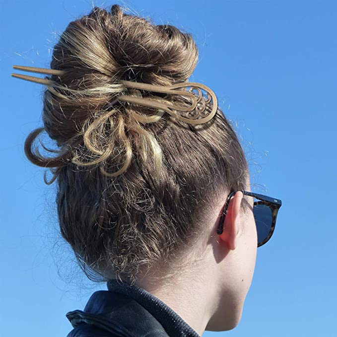 Metallic Gold Effect Hair Chopsticks Twist Design 2 Piece Set