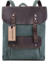 Jack&Chris Vintage Canvas Leather Laptop Backpack Shoulder Bag Rucksack Satchel, MC2166