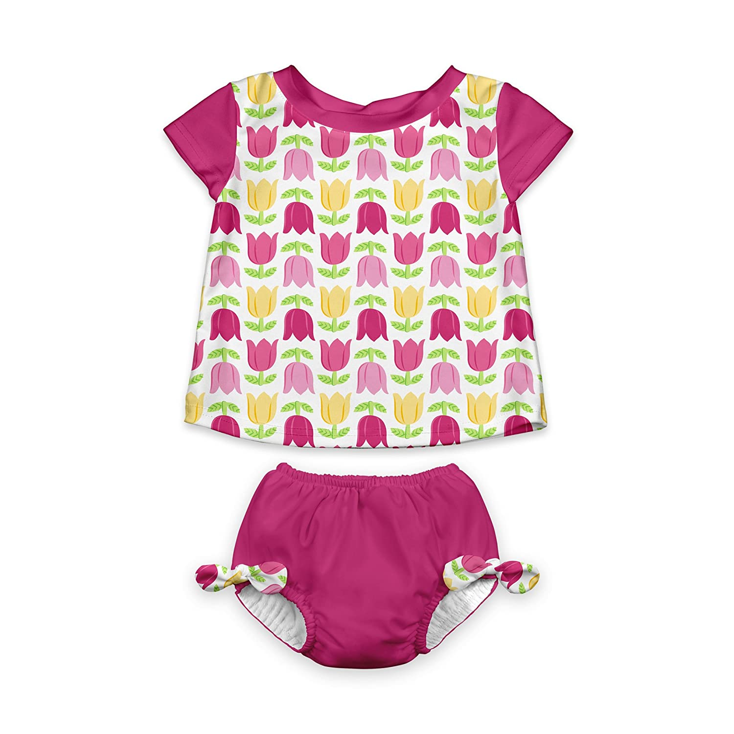 i play. Baby Girls' 2pc Cap Sleeve Rashguard Set With Absorbent Swim Diaper, White Tulip, 24mo i play Children's Apparel 713177-012-45