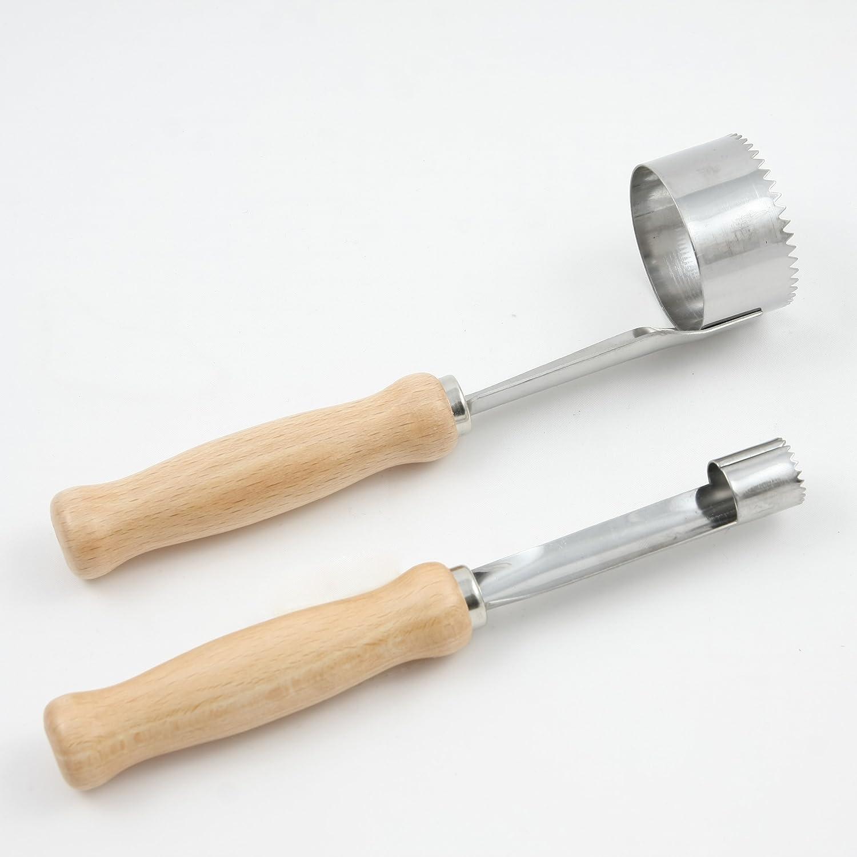 Menz Set Entkerner Kostenlose Lieferung Apfelstecher mit Holzgriff und Paprikaausstecher mit Holzgriff