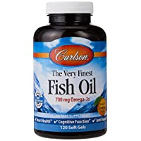 Carlson The Very Finest Fish Oil Orange 120 + 30 Softgels, 700 mg (May be Chewed)