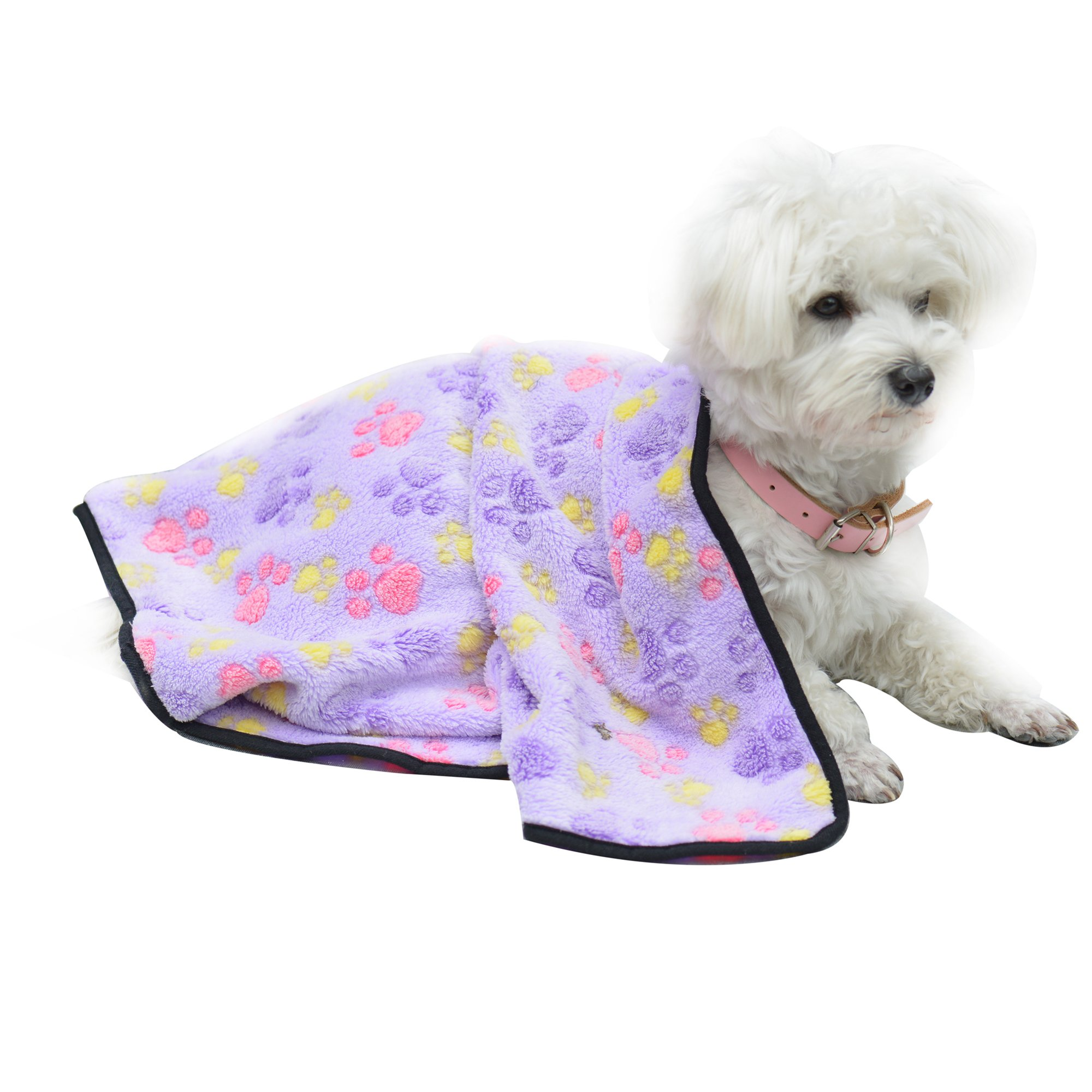 EXPAWLORER Pet Blanket for Small Cats & Dogs Thick L 10476cm Purple