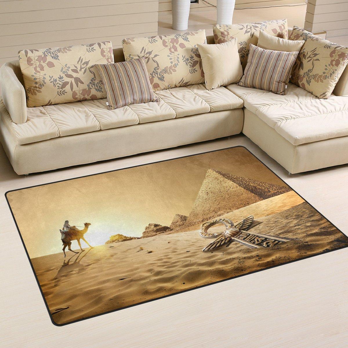 WellLee Egyptian Area Rug 5'x3',Camel Near Pyramids Ankh Floor Rug Non-Slip Doormat for Living Dining Dorm Room Bedroom Decor WelllLee dtfh-001