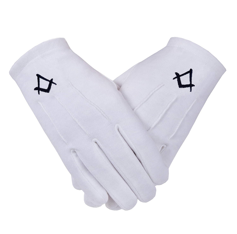 Freimaurer-Baumwollhandschuhe mit Winkelma/ß-/&-Zirkel-Symbol in Schwarz