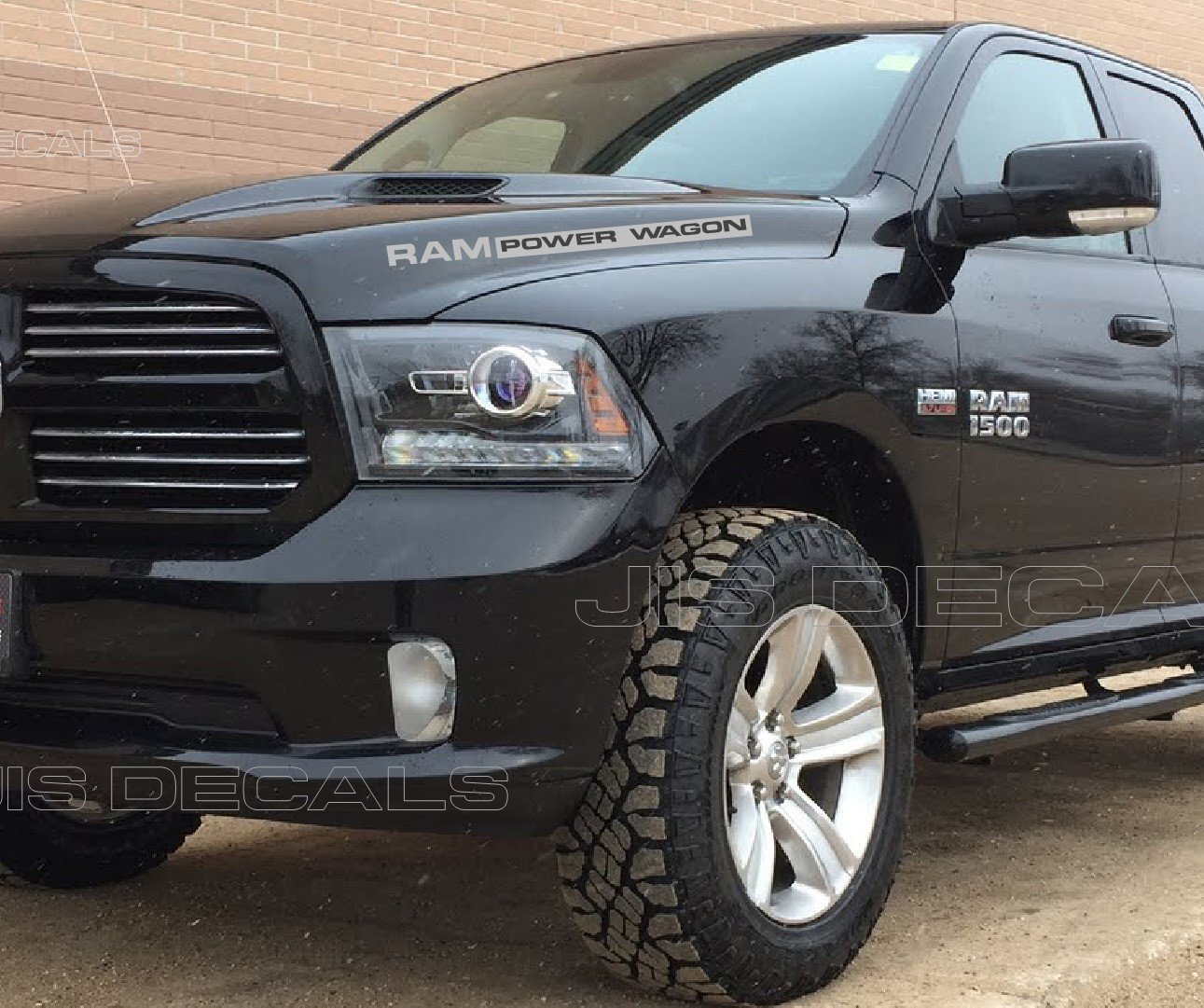 Amazon com jis decals generic dodge ram power wagon hood decals 2 decals gray 32 inch automotive