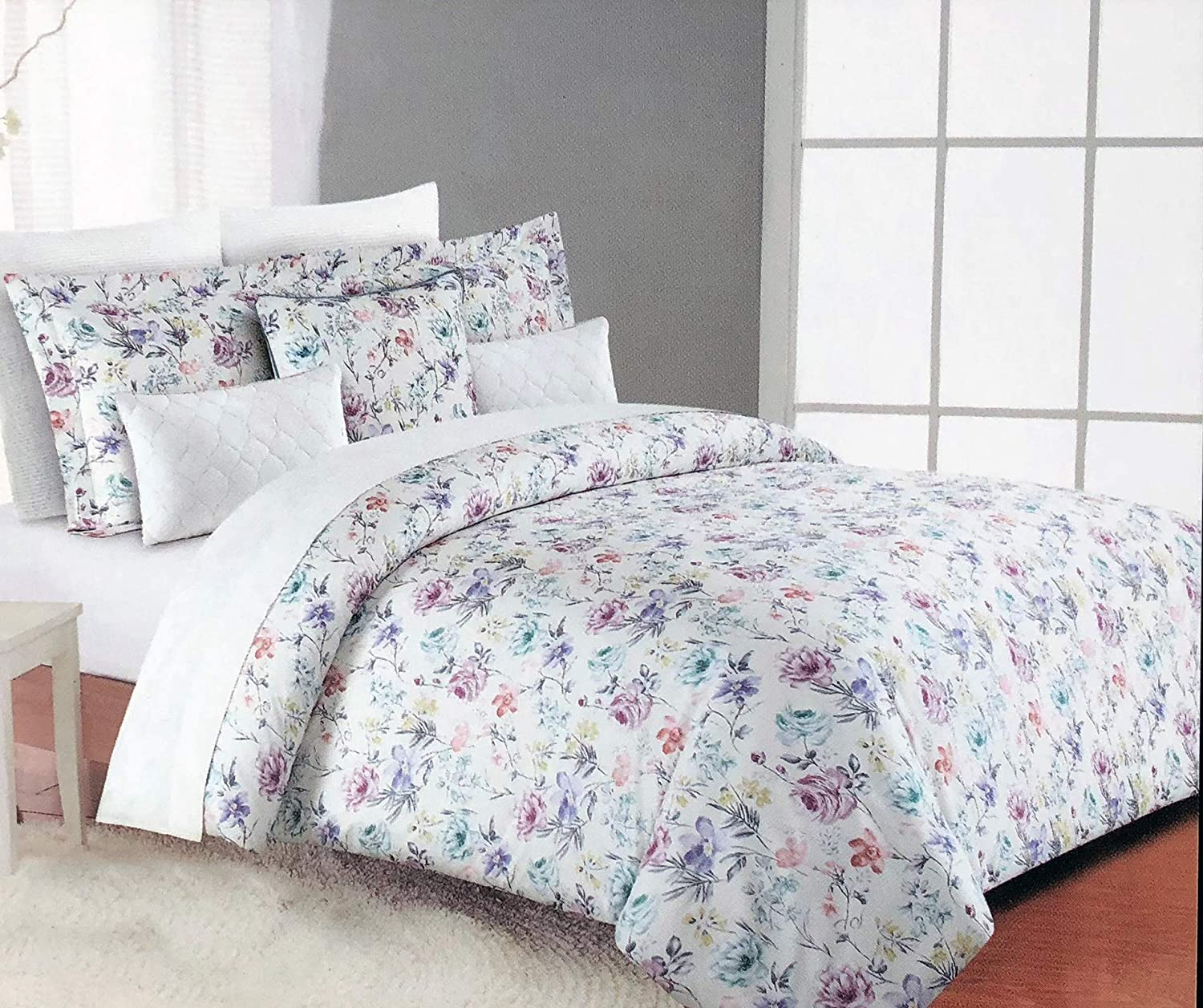 Tahari Home Maison Bedding 3 Piece King Size Luxury 3 Piece Duvet Comforter Cover Shams Set Floral Flowers Pattern in Shades of Yellow Purple Pink Green Blue on White - Green Leaves