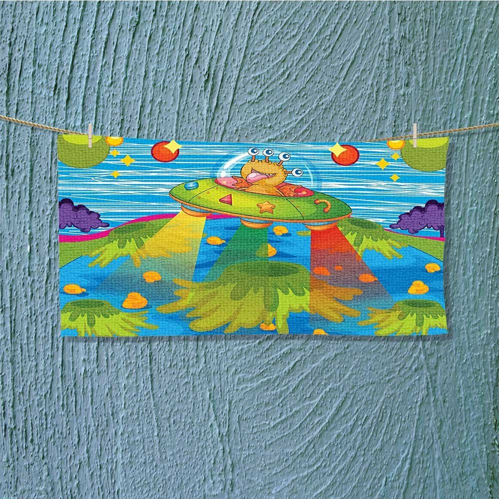 alsoeasy Swim Towel for Scary Monster in UFO on Planet Solar System Funky Back Green Blue Super Soft L27.5 x W13.8 inch