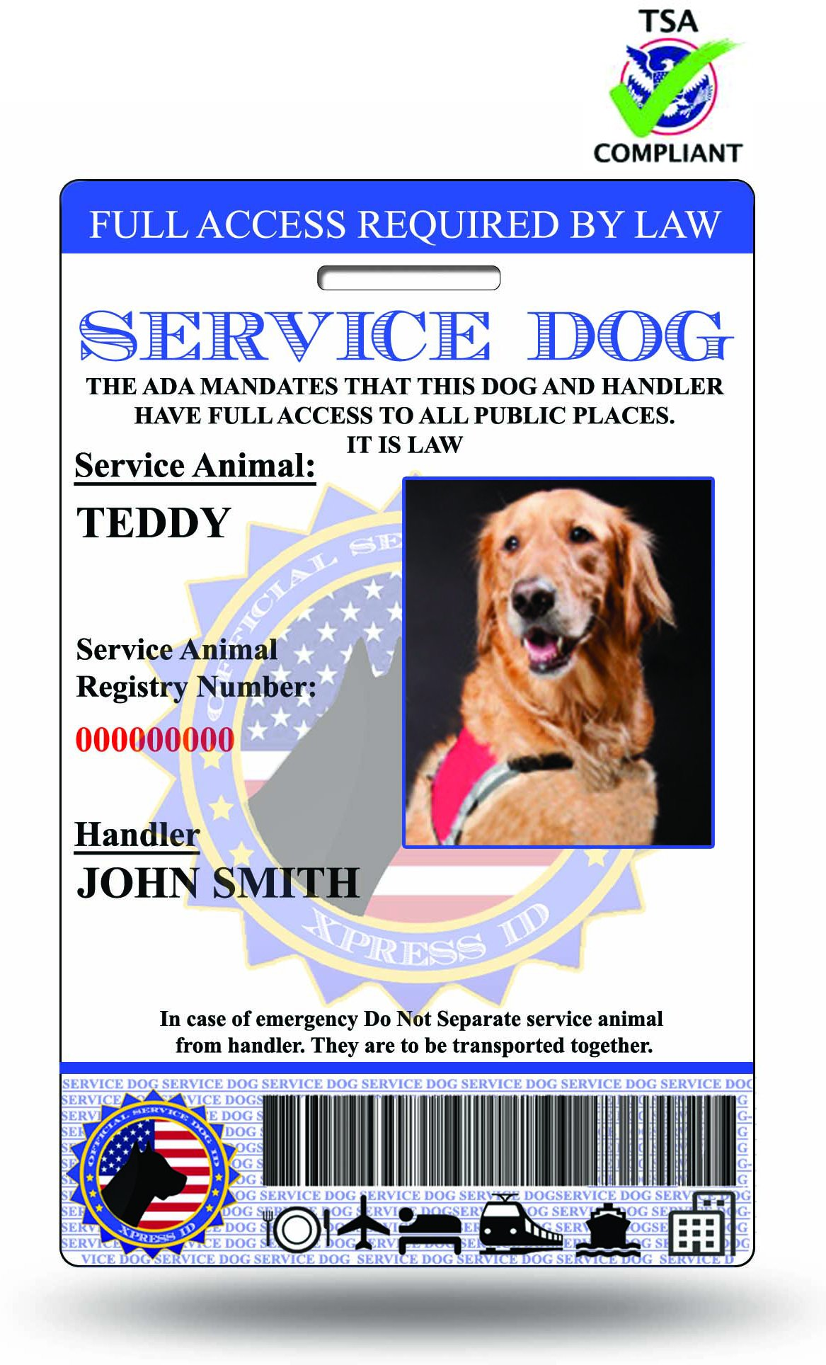 Holographic Service Dog ID + Digital Version | Includes Registration To National Dog Registry