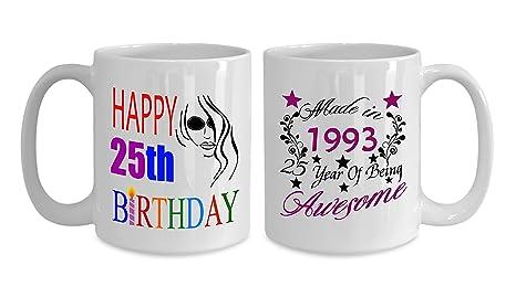 Amazon.com: Happy 25 cumpleaños tazas para chicos 11 oz ...