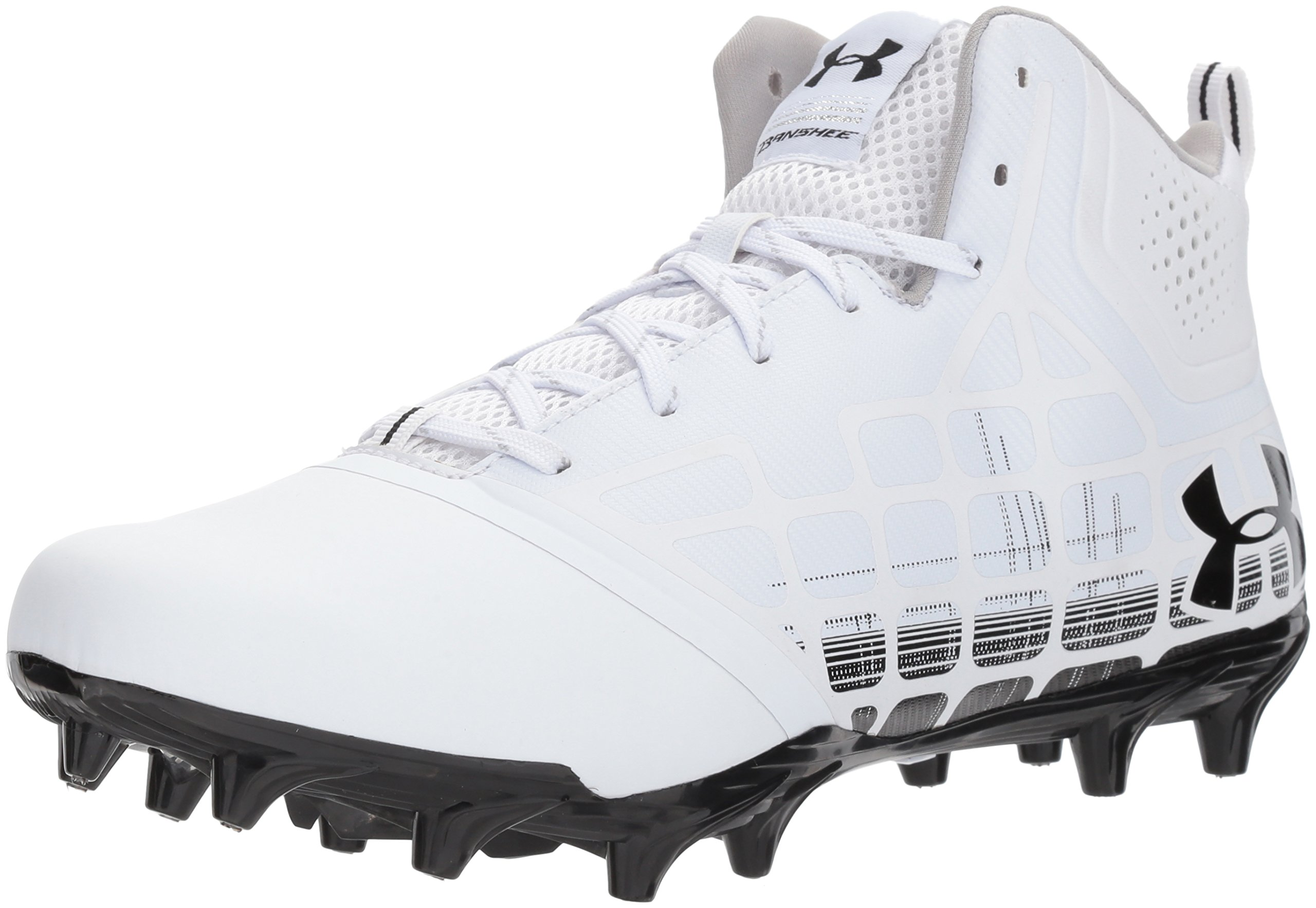 Under Armour Men's Banshee Ripshot MC Lacrosse Shoe, White (101)/Black, 12 by Under Armour