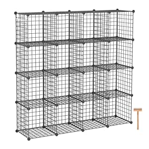 "C&AHOME Wire Storage Cubes, Metal Grids Bookshelf, Modular Shelving Units, Stackable Bookcase, 16 Cubes Closet Organizer for Home, Office, Kids Room, 48.4""L x 12.4""W x 48.4""H Black"