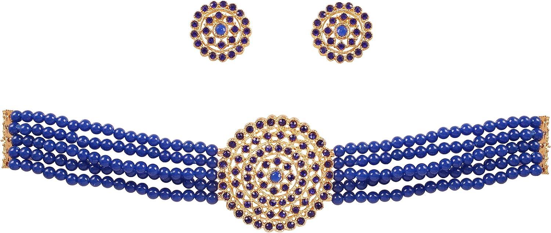 Ethnic Indian traditional gold plated padmavat neckline choker necklace set