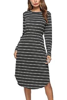 07603c19d39 YOSICIL Femme Robe Longue à Rayures Casual Col Rond Robe avec Poche Plissée  Manches Longues T-Shirt Dress…