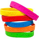 100 Religious Sayings Rubber Bracelet Mega Assortment - Christian Bracelets for Kids