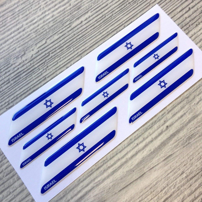 イスラエル国旗 3Dドーム型エンブレムデカールステッカー7点セット