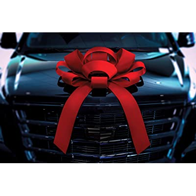 "CarBowz Big Red Velvet Car Bow, Giant 30"" Bow, Non Scratch Magnet, Weather Resistant Vinyl: Automotive"