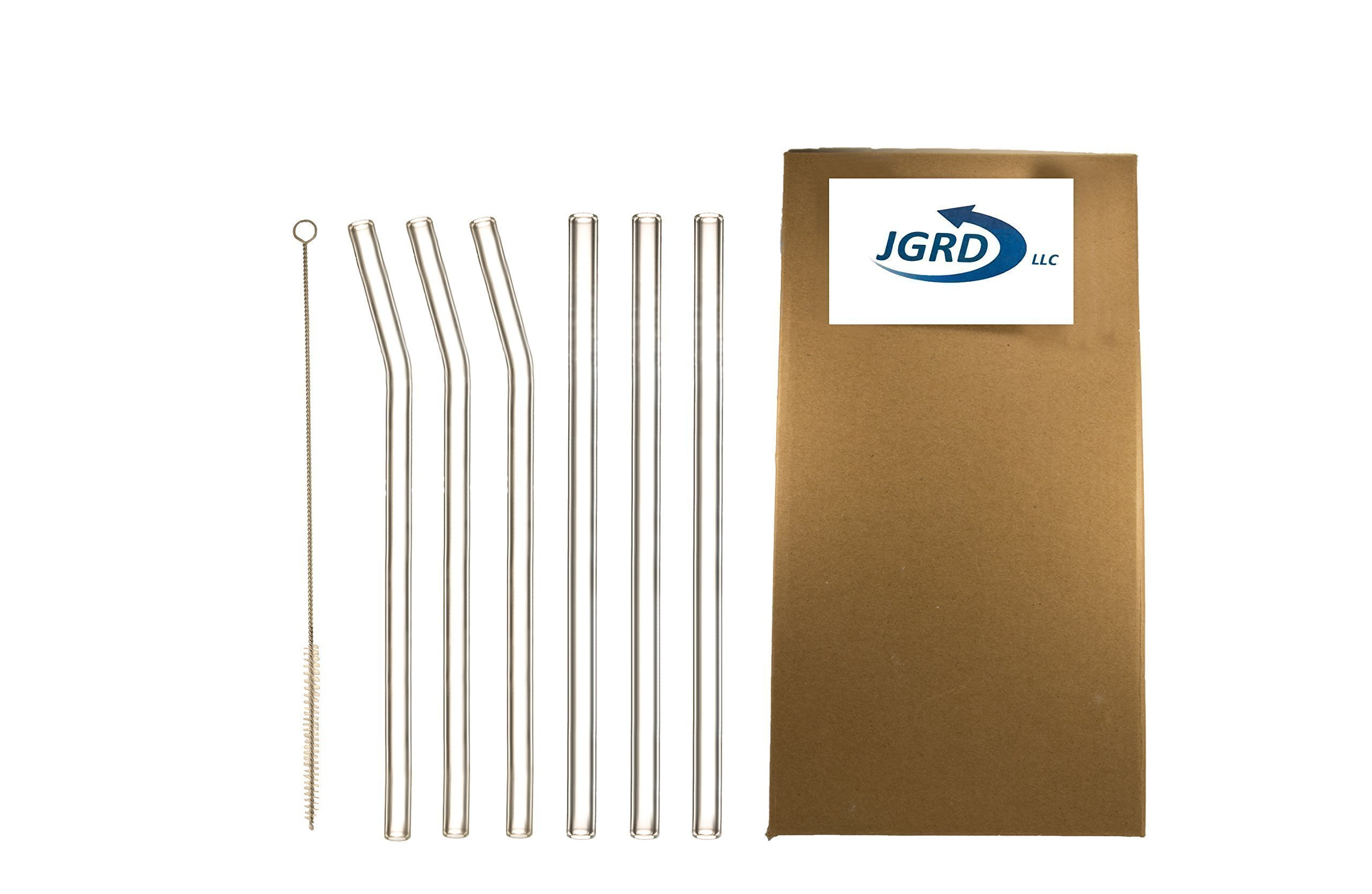 Drinking Straws Glass by JGRD, Reusable Durable, 9'' X 10mm, 3 Bent, 3 Straight, 1 Cleaning Brush, Great Durable Reusable Straw, Perfect For Smoothies, Tea, Juice, Water, Essential Oils