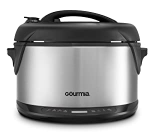 Gourmia GPS650 Multi-function Electric 1-Hour Hot & Cold Smoker, Pressure Cooker, Slow Cooker and Steamer 6.5 Qt with Delay Timer & Removable Racks 1300W