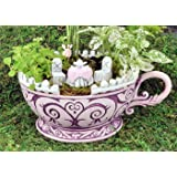 Georgetown Home & Garden, Fiddlehead Fairy Garden, Pink Teacup Planter and Accessory Set. Includes Pink Teacup Planter, Micro Pink Tea Table with White Chairs, and Micro Fairy in Pink Dress.