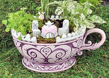 Charmant Georgetown Home U0026 Garden, Fiddlehead Fairy Garden, Pink Teacup Planter And  Accessory Set.