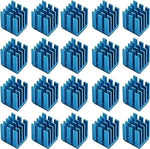 Easycargo 30pcs 3D Printer Heatsink Kit + 3M 8810 Thermal Conductive Adhesive Tape, Cooler Heat Sink for Cooling TMC2130 TMC2100 A4988 DRV8825 TMC2208 Stepper Motor Driver Module (Blue 9mmx9mmx12mm)
