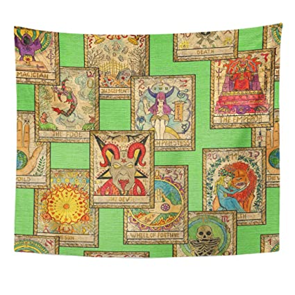 Amazon TOMPOP Tapestry Old Tarot On Green Occult Esoteric