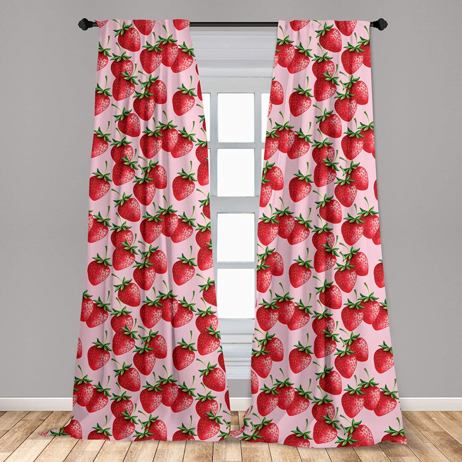 Ambesonne Red Curtains, Delicious Big Strawberries on Pink Background Tasty Juicy Ripe Summer Fruits, Window Treatments 2 Panel Set for Living Room Bedroom Decor, 56