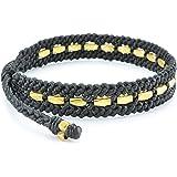 Bracelet Homme - Bracelet Corde Homme - Multi-taille Homme - 100% FAIT MAIN - Corde Tressée Cirée Patinée Noir - Perles de Laiton