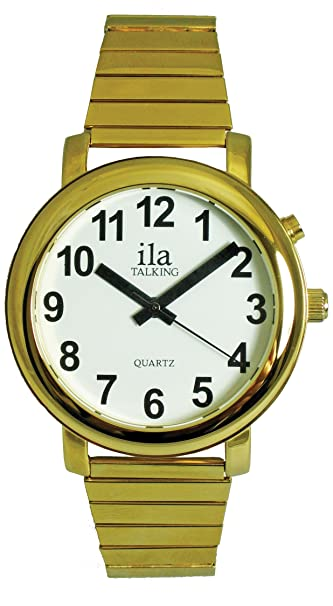 Ladies gold independent living aids talking watch white face with.