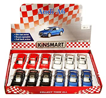 KiNSMART Audi A6 Diecast Car Package - Box of 121/38 Scale Diecast Model Cars