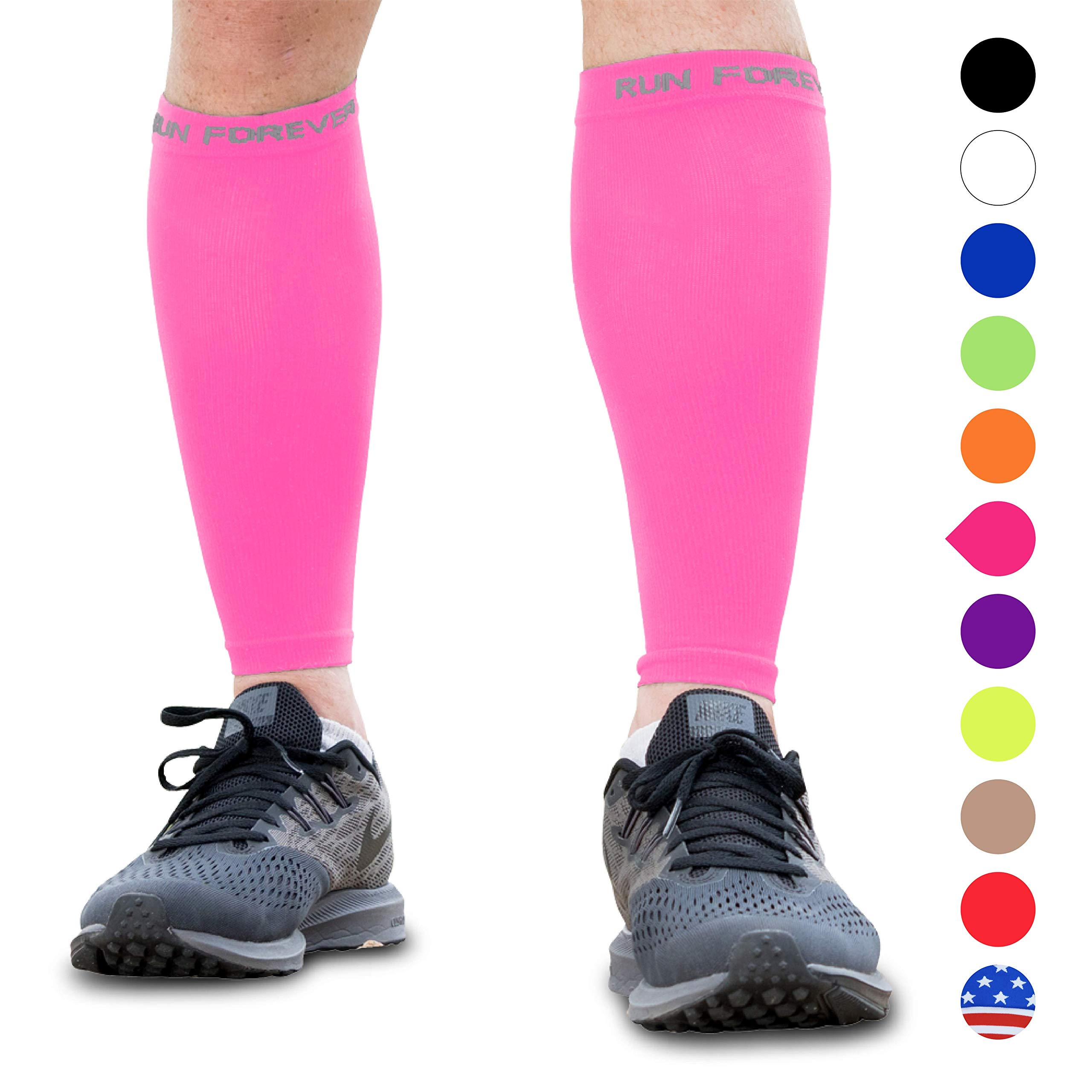 Calf Compression Sleeves - Leg Compression Socks for Runners, Shin Splint, Varicose Vein & Calf Pain Relief - Calf Guard Great for Running, Cycling, Maternity, Travel, Nurses (Pink,Small) by Run Forever Sports